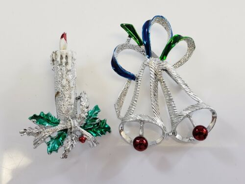 Vintage Christmas Holiday Brooch Pin Lot Bells Candle Silver Tone Sign Gerry
