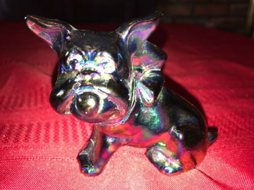 Vintage IMPERIAL GLASS AMETHYST CARNIVAL Glass DOG Bulldog Figurine Paperweight