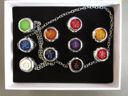10PCS Naruto Cosplay Akatsuki Rings Itachi  Gift Box Set Free shipping