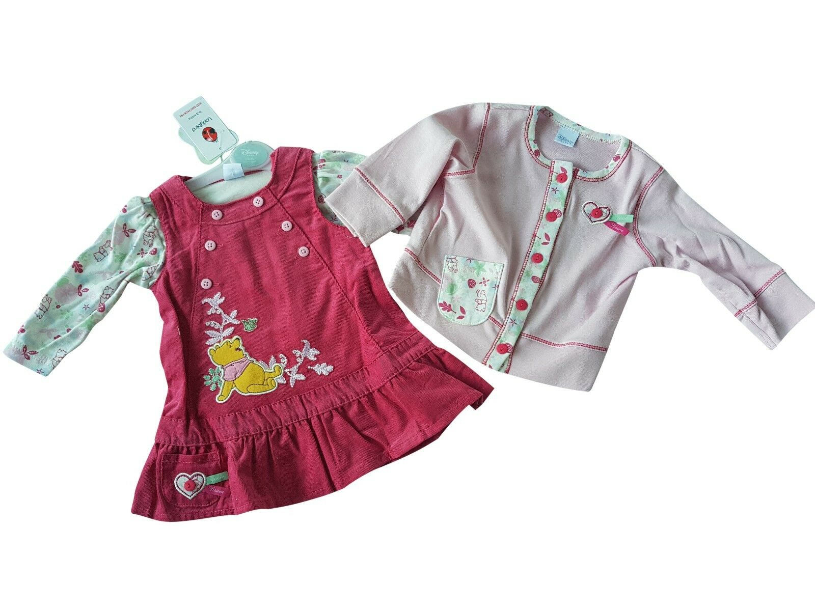 Disney Pooh Velour baby 3 piece jogging suit set pink 0-18 months