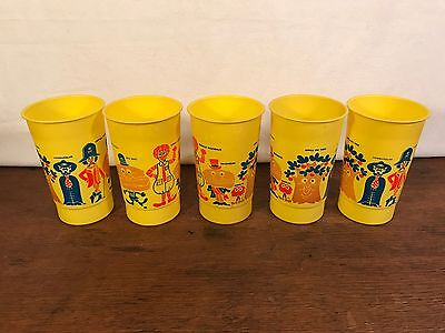 Vintage Advertising Set Of (5) 1970's Ronald McDonald's Plastic Cups (HD8)