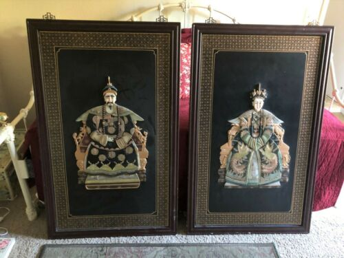 Chinese Emperor and Empress Large Framed Painted Relief Carvings