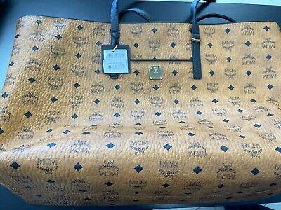 NEW! MCM $850 Cognac Canvas Visetos Large Zip Top ANYA Shopper Purse Handbag