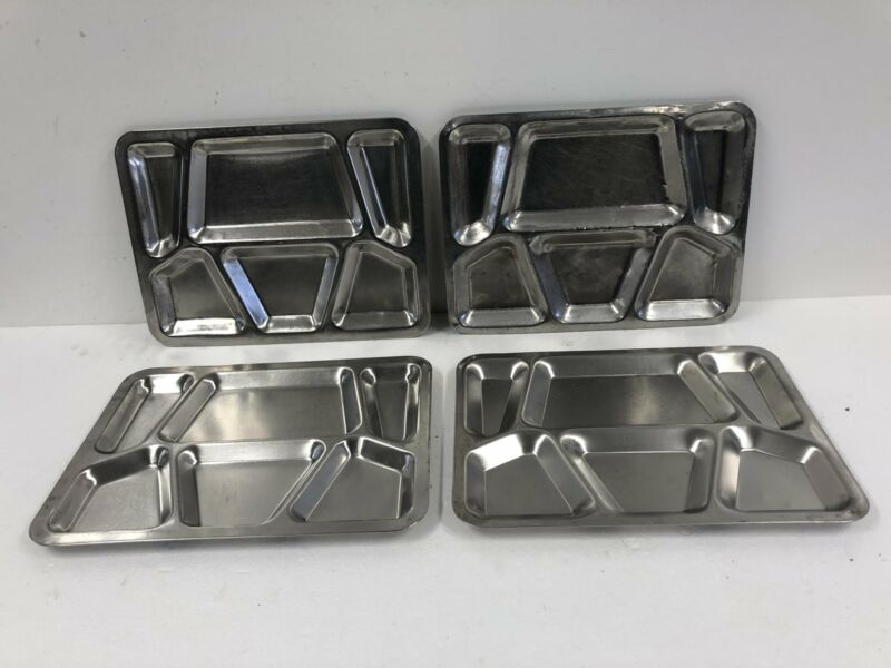 4 Vintage Stainless Steel Military Food Tray Divided School Cafeteria Mess Hall