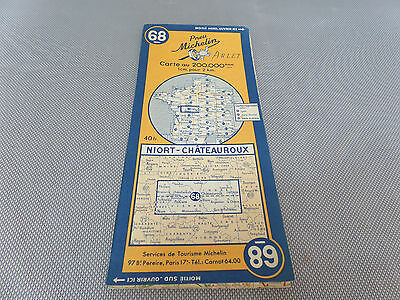 Card Michelin No 68 Niort-Chateauroux 1947/Collector Bibendum Vintage