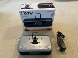 iHome iDL100 Clock w/Dual Lightning Dock, FM Stereo, Dual Alarm, USB Charger