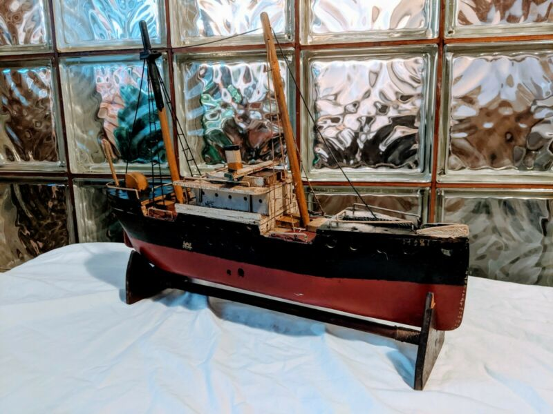 ANTIQUE Primitive SS HOXIE Baltimore STEAM CARGO SHIP MODEL Handmade Wood Boat!