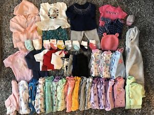Baby Girl 3mos Clothing LOT - 52 items