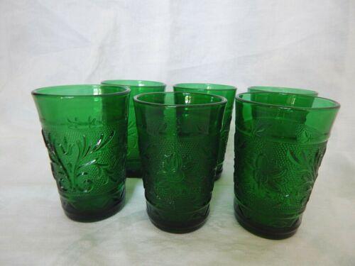 VTG ANCHOR HOCKING FOREST GREEN SANDWICH GLASS 5 oz JUICE GLASSES SET OF 6