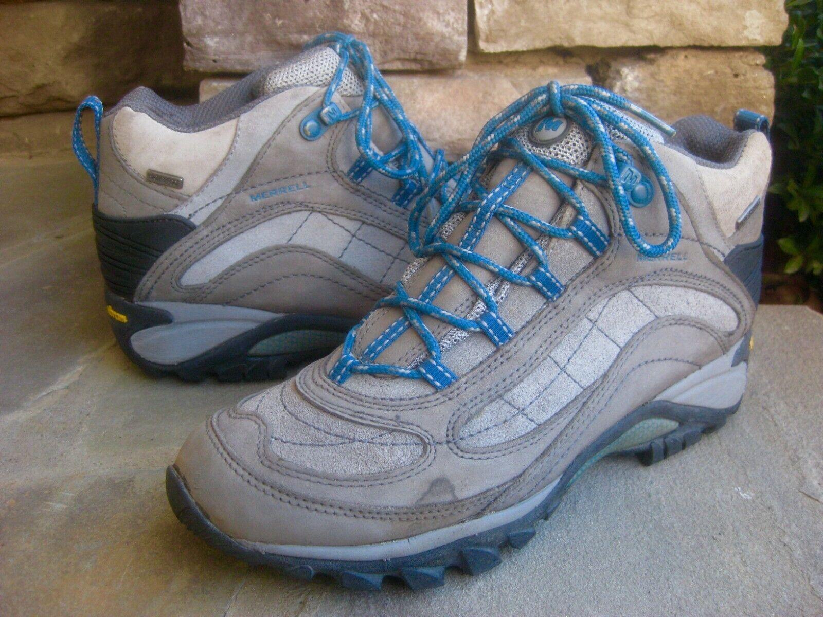 MERRELL Women s Siren Mid Waterproof Hiking Boot Castle Rock/Blue Sz 9.5M - $9.99