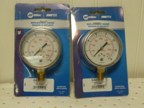 "Miller Brass Case Cylinder Pressure Gauge 1/4"" NPT 4,000 Max psi QTY 2 GA043-07"