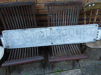 Antique street sign Nottinghamshire Wellow Maypole Court