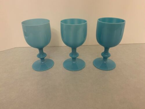 Set of (3) - French Portieux Vallerysthal - Blue Opaline Milk Glass Water Goblet