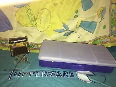 Tupperware Lunch n Things Sandwich Keeper Lunch Container Blue Divided #4195