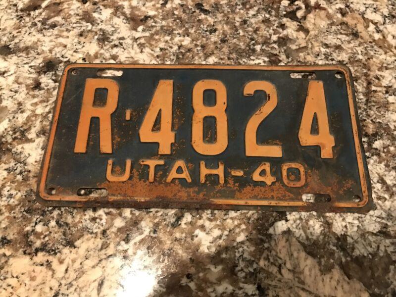 1940 UTAH LICENSE PLATE R4824