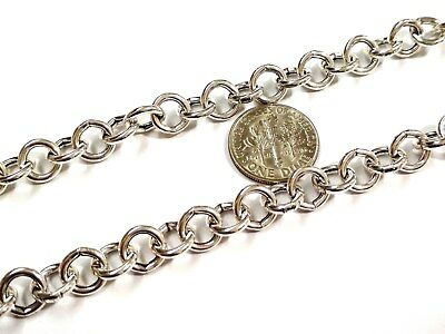 Round Hollow Rolo Chain - By the Foot BULK Continuous 925 Sterling Silver 8mm Hollow Round ROLO Chain