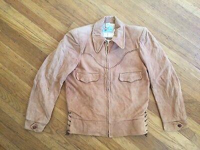 Vtg Deadstock Levi Suede Leather Sherpa Zipper Jacket Cowboy Western Wear 36 38