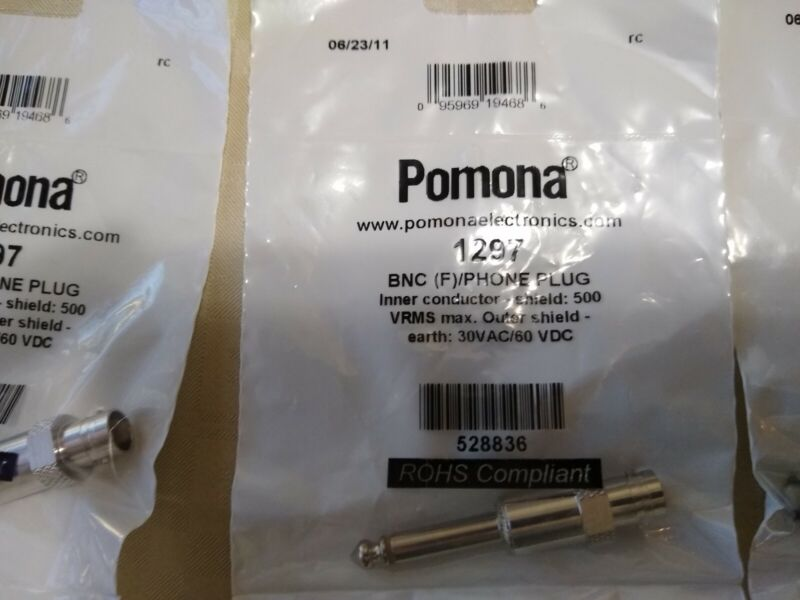 Pomona 1297 Connector Adapter, BNC Coaxial, 1 Positions, Jack, Phone