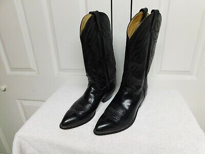 Acme Leather Cowboy Western Boots Mens Size 9 EW Style 16106 USA BLACK