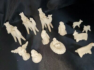 Vtg Nativity 12 Piece Set Clay holy Family wise men angel Animals Handmade Read