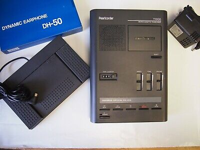Olympus T1000 Microcassette Transcriber With Foot Pedal Ac Adapter And Headset