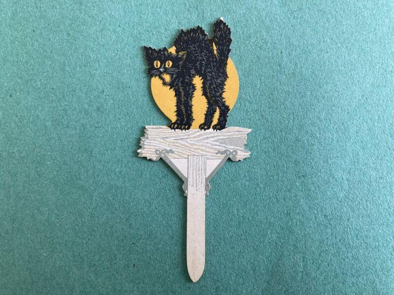 Vintage Dennison Halloween Cat Fence Post Paper Cake Pick