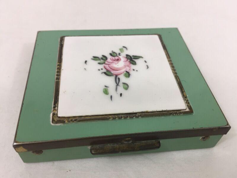 VTG Green Enamel Floral Ladies Powder Compact Made USA