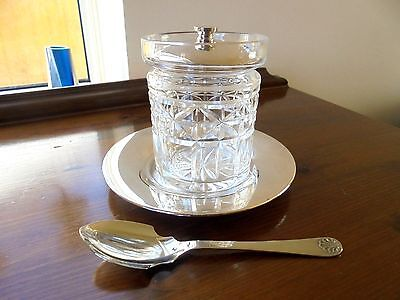 Pretty Silver Plated/Glass  Preserve Pot & Spoon