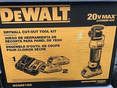 Dewalt Dcs551d2 20v Max Lithium Ion Cordless Drywall Cut-out Tool Kit