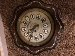 ANTIQUE FRENCH NUNS PRAYER STRIKER WALL CLOCK WALNUT WITH MOTHER-OF-PEARL