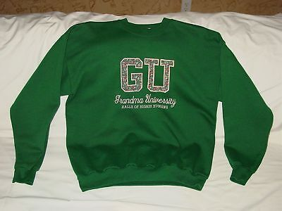 Womens GU Grandma University Embroidered Floral Sweatshirt Grandmother L 42-44