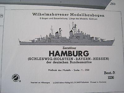 Hamburg Zerstörer Wilhelmshavener Modellbaubogen Bastelbogen Kartonmodel