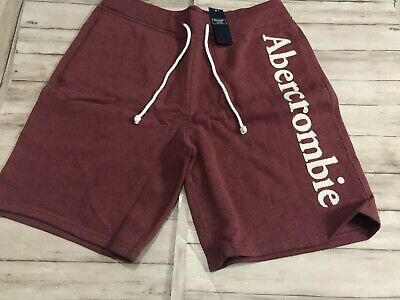 NWT Abercrombie & Fitch Fleece Red Shorts Medium New Pockets Gym Sport N1