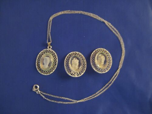 Whiting & Davis Silver tone Metal Intaglo Cameo clear glass Necklace Earrings