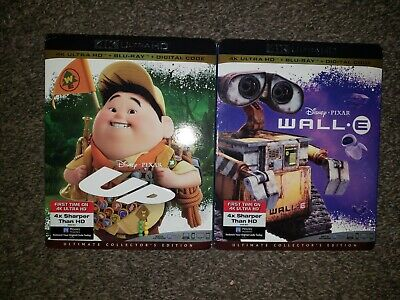 Disney's Wall-E & UP 4K, Blu Ray, Digital Code, Sealed with Slipcover Pixar Lot