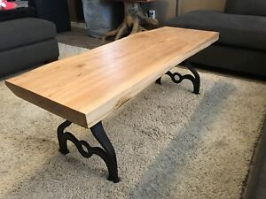 Custom Live Edge Maple Slab Coffee Table