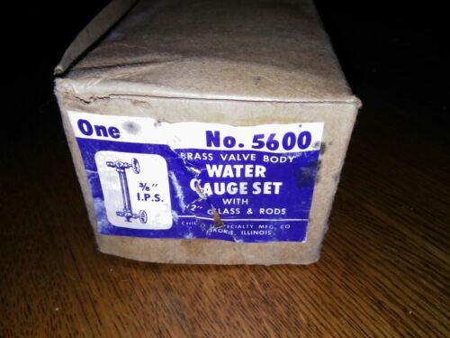 "NOS CHICAGO SPECIALTY Liquid Level Site Glass No. 5600 Water Gauge Set 3/8"" IPS"