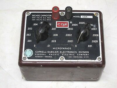 Cornell-dubilier Decade Capacitor Box Model Cda Vintage Industrial Surplus Good