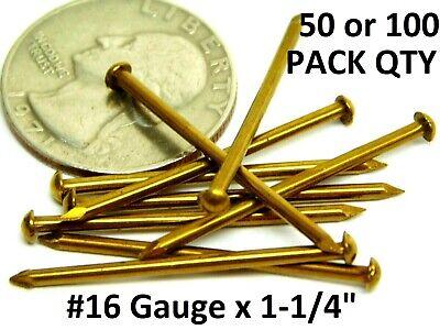 "- 50/100! Solid Bright Brass Escutcheon E-Pins #16 Gauge x 1-1/4"" Finish Nails HF"