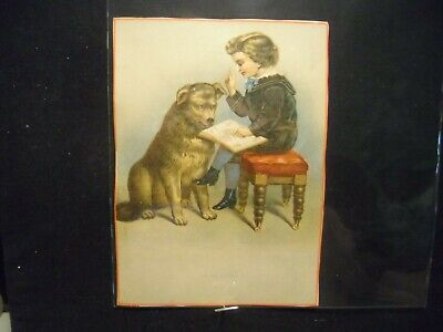 Victorian scrap # 8966 - A B Cs - BOY AND DOG