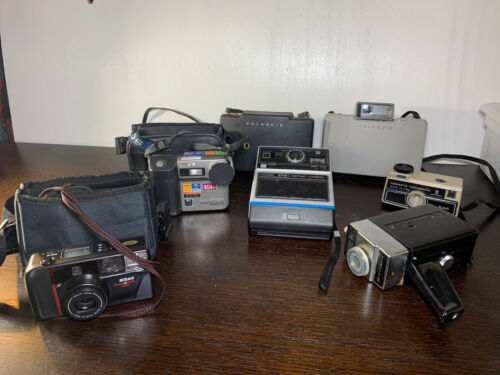 Lot Of 7 Vintage Cameras Polaroid,sony,kodak & More