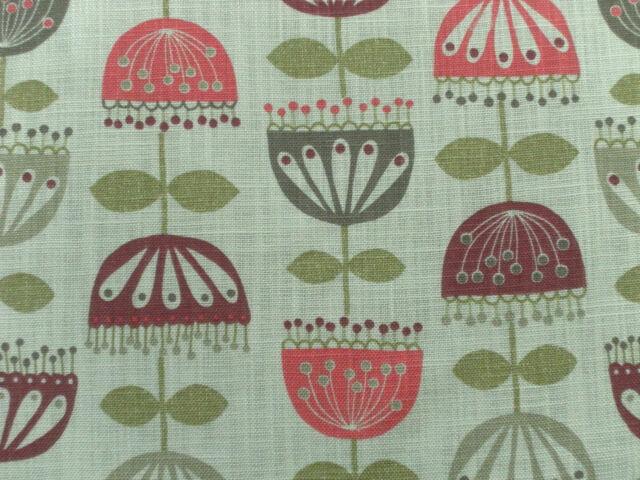 Villa Nova Curtain Fabric GARLAND 12m Cherry - Modern Abstract Floral Design