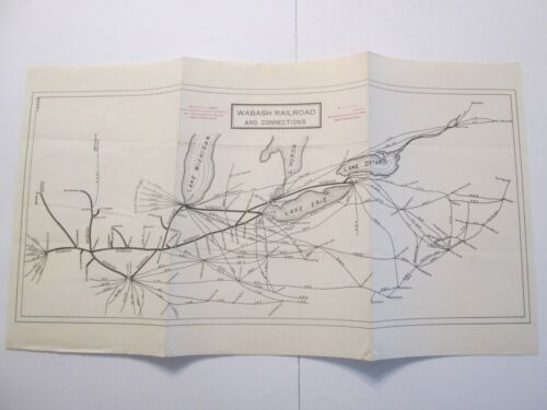 Wabash Railroad and Connections Folding Map 1938