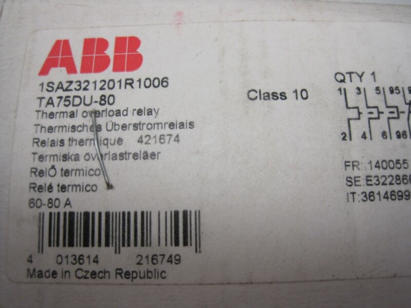 NEW ABB 1SAZ321201R1006 OVERLOAD RELAY