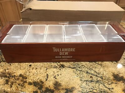 Tullamore Dew Whiskey Wooden Condiment Fruit Bar Tray Garnish - New In The Box