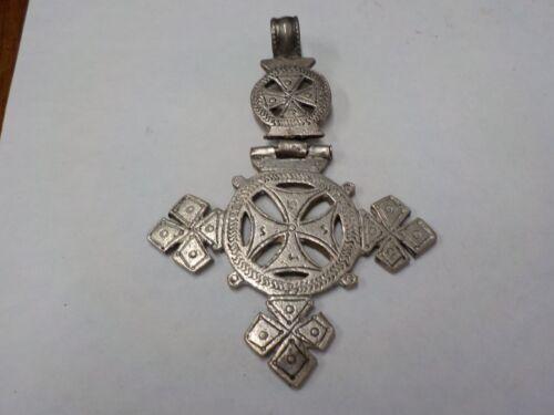 antique European  large silver iron cross pendant