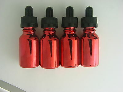 25- 15 Ml Metallic Red Glass Round Bottles W Droppers Crc Spectacular