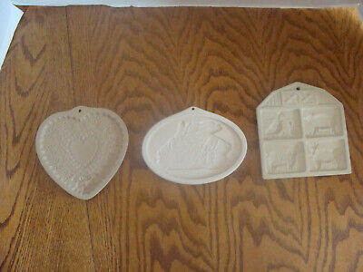 VTG. BROWN BAG, PAMPERED CHEF & LONGABERGER STONE COOKIE MOLDS - DATED 1990's