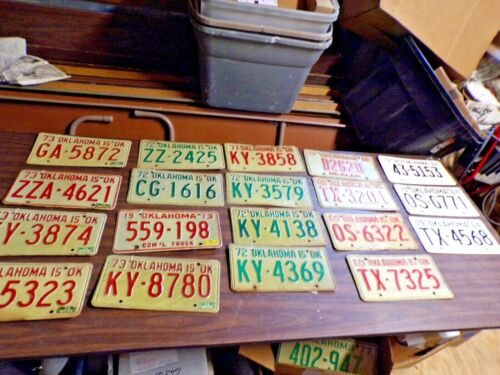 Box of 19 Oklahoma  License Plate Car Tags 1962 thru 1973  one is 1969 dealer