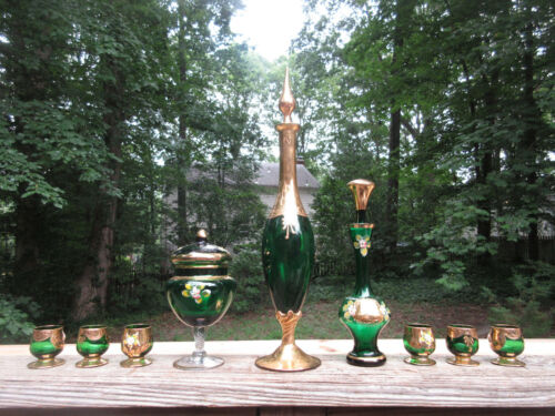 Vintage Murano Barbini Green Venetian Glass Decanter 6 Glasses & More Gold Gilt